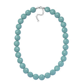 J Francis - Crystal From Swarovski - Amazonite Crystal (Rnd) Necklace (Size 18 with 2 inch Extender) in Rhodium Sterling Silver