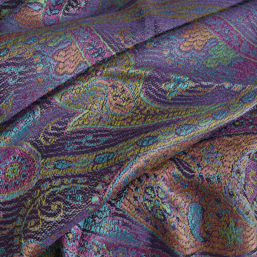 SILKMARK - 100% Superfine Silk Purple, Blue and Multi Colour Paisley Pattern Jacquard Jamawar Scarf with Tassels (Size 180X70 Cm) (Weight 125 to 140 Gm)