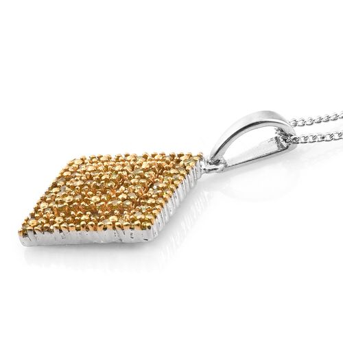 Yellow Diamond (Rnd) Square Pendant With Chain in Gold Overlay and Platinum Overlay Sterling Silver 0.500 Ct. Number of Diamonds 100