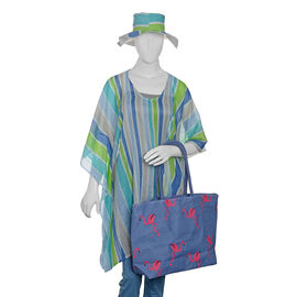 100% Cotton Off White, Green and Multi Colour Stripe Pattern Apparel (Free Size), Cap (Size 36x34 Cm