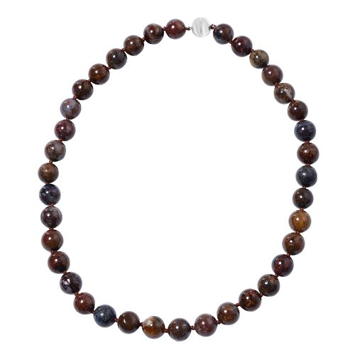 462.50 Ct Namibian AAA Pietersite Beaded Necklace with Magentic Clasp in Sterling Silver 20 Inch