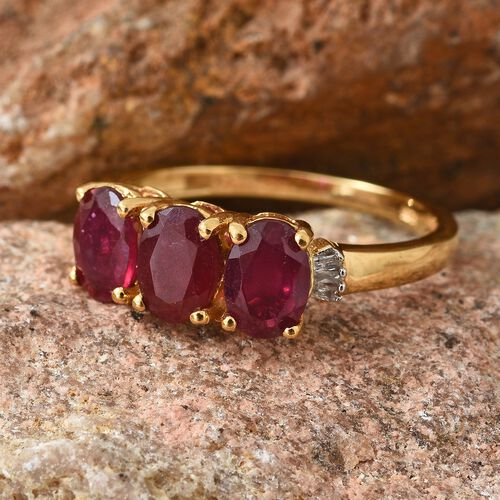 Super Auction- African Ruby (Ovl), Diamond Ring in 14K Gold Overlay Sterling Silver 3.250 Ct.