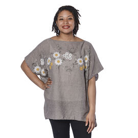 Jovie Embroidered Flower Pattern Top in Taupe (Size 90x70 Cm)