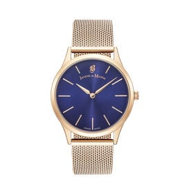 DOD - Jacques Du Manoir Emotion Swiss Movement Blue Dial and Rose Gold Case Water Resistant Watch wi
