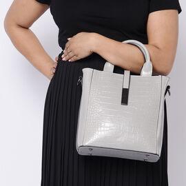 Sencillez Croc Embossed 100% Genuine Leather Convertible Bag in Light Grey (26x12x26 Cm)