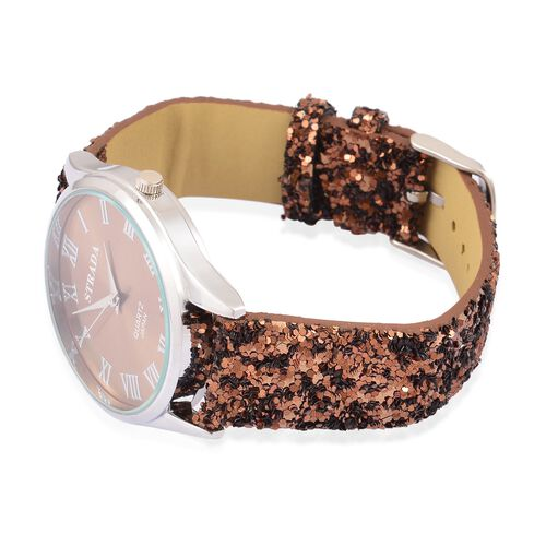 Chocolate and Silver Sparkle Scarf and Watch Set