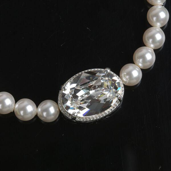 J Francis - Crystal from Swarovski White Crystal (Ovl), Swarovski Crystal White Pearl Bracelet (Size 6-7.5 with Extender) in Sterling Silver