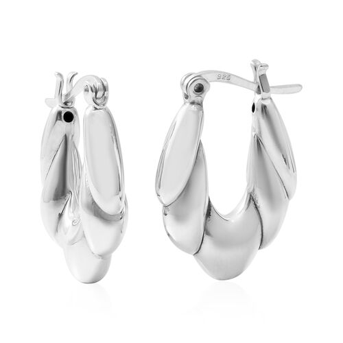 Rhodium Overlay Sterling Silver Earrings (with Clasp Lock),Silver wt 5.11 Gms