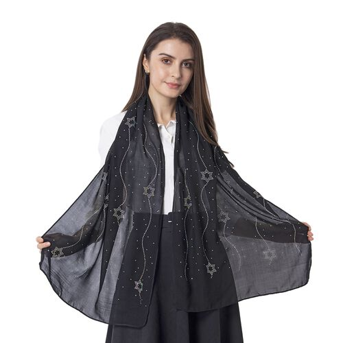 Star Pattern Crystal Embellished Black Scarf (Size 80 x 50 Cm)