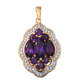 Amethyst (Mrq), Natural White Cambodian Zircon Pendant in Yellow Gold and Platinum Overlay Sterling Silver 5.730 Ct, Silver wt 5.60 Gms.