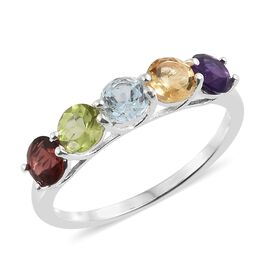 Sky Blue Topaz (Rnd), Mozambique Garnet and Multi Gemstone 5 Stone Ring in Sterling Silver 2.500 Ct.