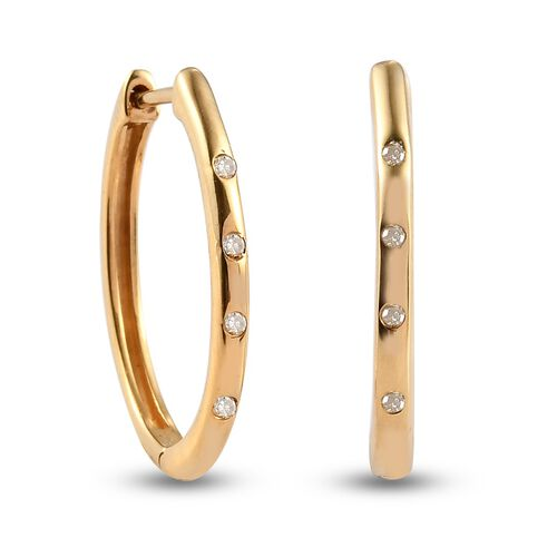 Diamond (Rnd) Hoop Earrings (with Clasp) in 14K Gold Overlay Sterling Silver