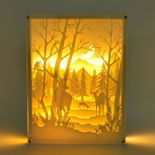 Home Decor - Forest  Pattern Fairy Tale Lighting with Paper Cut 3D (Size 26x19.8x4.2 Cm)