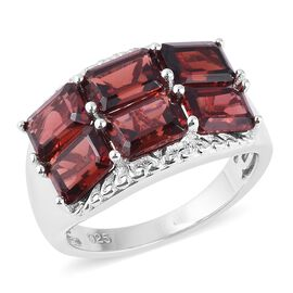 8.25 Ct Mozambique Garnet 6 Stone Ring in Sterling Silver 5.37 Grams