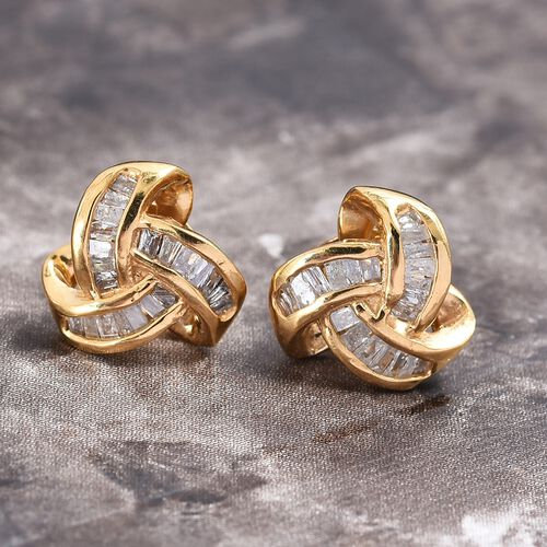 Diamond (Bgt) Triple Knot Earrings (with Push Back) G-H Colour in 14K Gold Overlay Sterling Silver 0.255 Ct.
