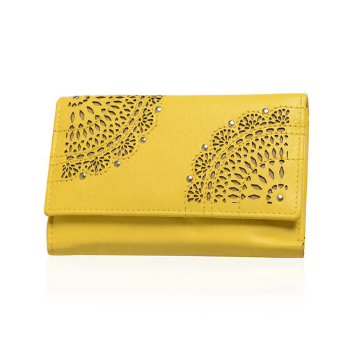 Cecilla Laser Cut Design100% Genuine Leather Yellow Colour RFID Blocker Wallet (Size 15x10 Cm)