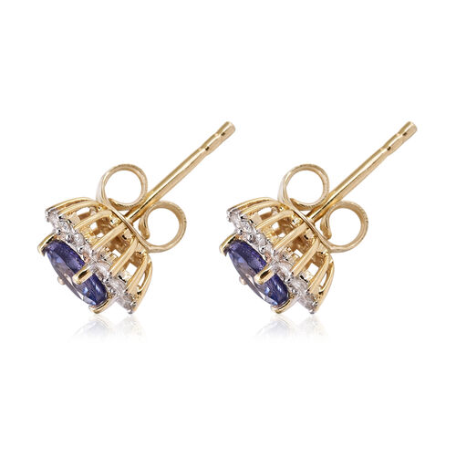 9K Yellow Gold Tanzanite (Rnd), Diamond Earrings 1.300 Ct.