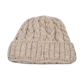 Aran 100% Pure Woollen Mills Cable Irish Hat in Nude Colour (One Size)