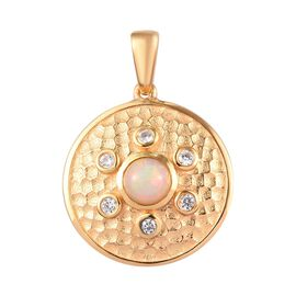AA Ethiopian Welo Opal and Natural Cambodian Zircon Pendant in 14K Gold Overlay Sterling Silver 1.00