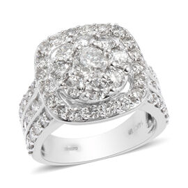 3.53 Ct Diamond Cluster Ring in 14K White Gold I2 I3 GH