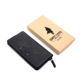 MCS Country Classics: 100% Genuine Leather Wallet - Black and Dark Grey