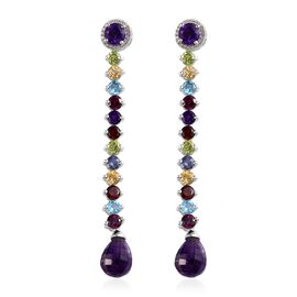 GP 19.25 Ct Amethyst and Multi Gemstone Dangle Earrings in Platinum Plated Silver 7.79 Grams