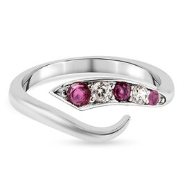 LucyQ Flame Collection - African Ruby (FF) and Natural Cambodian Zircon Ring in Rhodium Overlay Ster