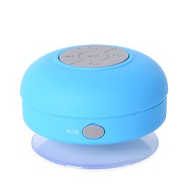 Handsfree Portable Wireless Waterproof Shower Bluetooth Speaker (Size 9x9x5.5 Cm) - Blue