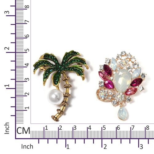 Set of 2 Simulated Pearl (Rnd), White Austrian Crystal, Simulated Emerald, Simulated Pink Sapphire and Multi Colour Simulated Diamond Coconut Tree and Flower Enameled Brooch in Yellow Gold Plated