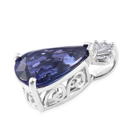 One of a Kind - RHAPSODY 950 Platinum AAAA Tanzanite (Pear), Diamond  Pendant  4.070 Ct.