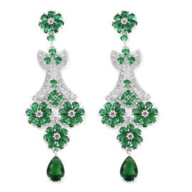 Simulated Emerald and Simulated Diamond Chandelier Earrings in Silver Tone