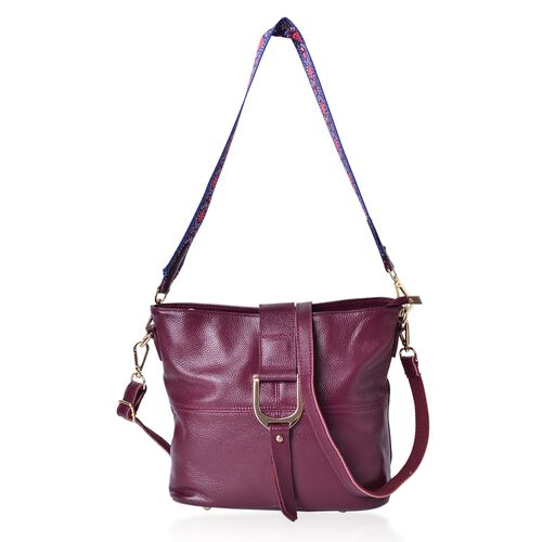 Genuine Leather Burgundy Colour Crossbody Bag with Colourful Adjustable and Removable Shoulder Strap (Size 29X26X23X13 Cm)
