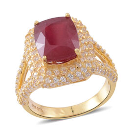 African Ruby (Cush 8.25 Ct), Natural White Cambodian Zircon Ring (Size L) in 14K Gold Overlay Sterling Silver