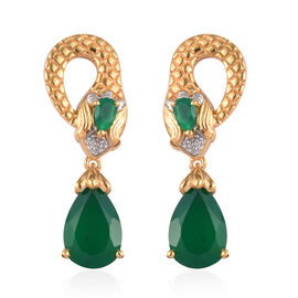 Verde Onyx Snake Drop Earrings (with Push Back) in 14K Gold Overlay Sterling Silver 4.50 Ct, Silver