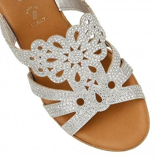 Lotus Silver Glitz Ludisa Wedge Sandals (Size 4)