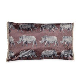 Designers Digitally Printed Rhino Silky Velvet Pillow with Fringes (Size 30x50 Cm) - Taupe