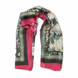 New for Season - 100% Mulberry Silk White, Black and Raspberry Pink Colour Scarf (Size 100x100 Cm)