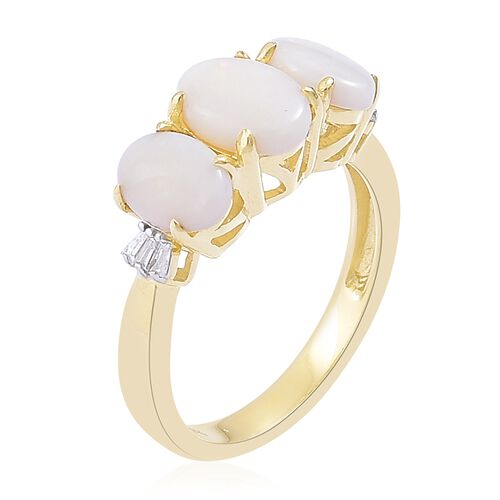 9K Yellow Gold AAA Very Rare Australian White Opal (Ovl), Diamond Ring 1.710 Ct.