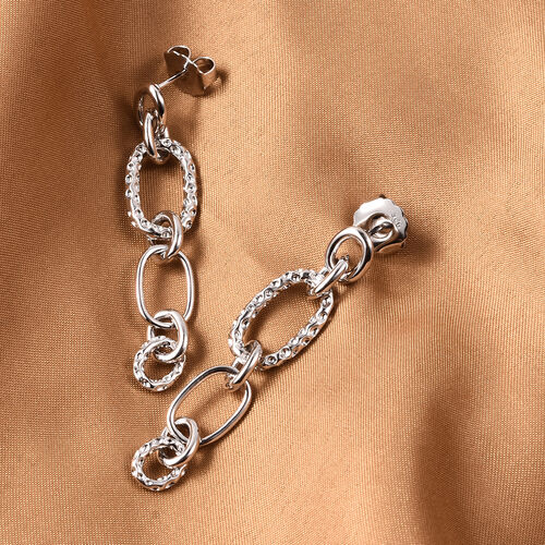 RACHEL GALLEY Rhodium Overlay Sterling Silver Dangle Link Earrings (with Push Back), Silver wt 11.15 Gms