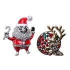 Set of 2 - Simulated Emerald, Simulated Pearl and Multi Colour Austrian Crystal Santa and Reindeer E