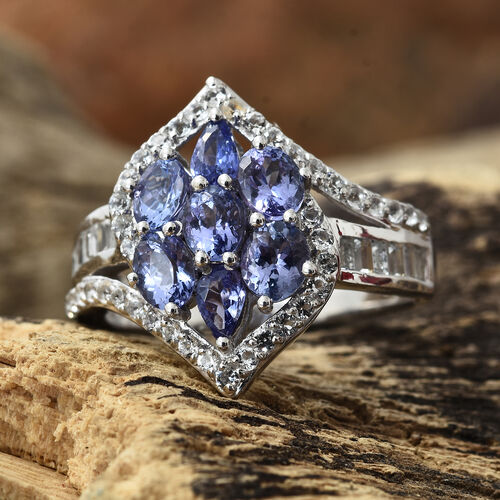 3.50 Ct Tanzanite and White Topaz Ring in Platinum Plated Silver