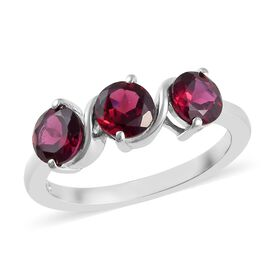 Rhodolite Garnet (Rnd) Trilogy Ring in Platinum Overlay Sterling Silver 2.00 Ct.