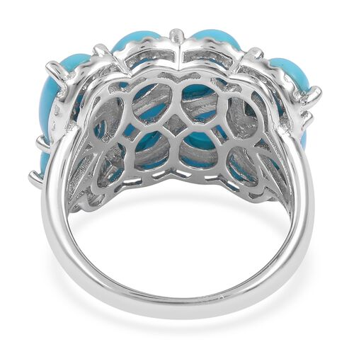 Arizona Sleeping Beauty Turquoise (Pear), Natural White Cambodian Zircon Ring in Sterling Silver 5.410 Ct, Silver wt 5.18 Gms.