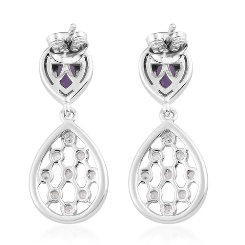 Tanzanite and Natural Cambodian Zircon Dangle Earrings (with Push Back) in Platinum Overlay Sterling Silver 1.50 Ct.