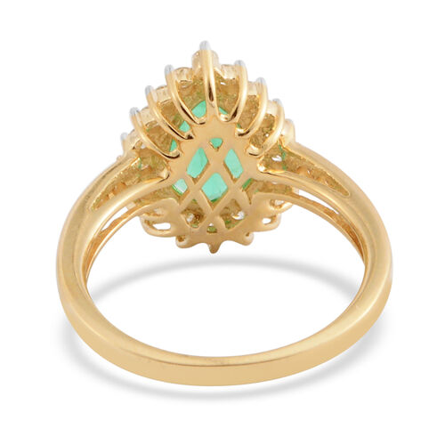 ILIANA 18K Yellow Gold AAA Boyaca Colombian Emerald (Pear), Diamond (SI/G-H) Ring 1.400 Ct.