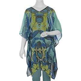 Palm Tree Screen Printed Kaftan (Size 81.28x86.36 Cm) - Blue