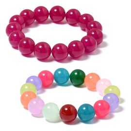 Set of 2 - Rubellite and Multi Colour Quartzite (Rnd 13-15mm) Adjustable Bracelet (Size 7) 560.200 Ct.