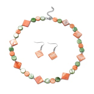 2 Piece Set -  Orange and Green Shell Necklace (Size 20 with 2 inch Extender) and Hook Earrings in S
