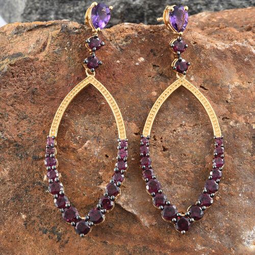 GP Amethyst (Pear), Rhodolite Garnet and Kanchanaburi Blue Sapphire Earrings (with Push Back) in 14K Gold Overlay Sterling Silver 8.250 Ct. Silver wt. 6.62 Gms.