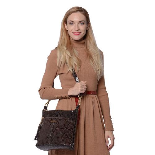 SENCILLEZ 100% Genuine Leather Snake Skin Pattern Crossbody Bag (27x11x29cm) - Black Colour